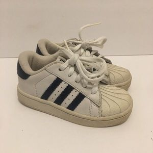Toddlers Adidas White Shell Toe Sneakers Size 8K